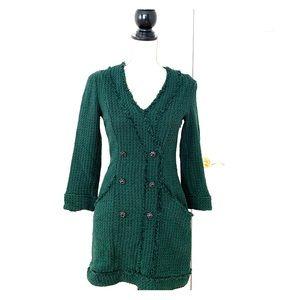 Zara Green Tweed Dress with Gemstone Buttons